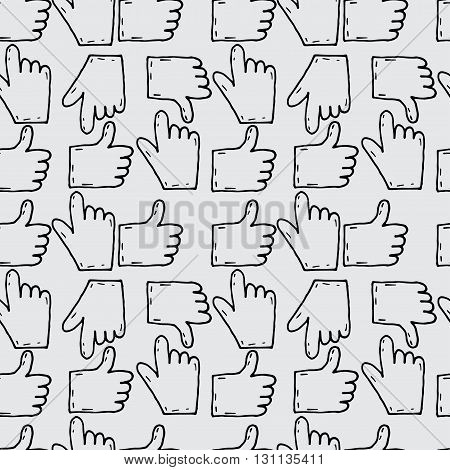 Seamless Pattern Hand Drawn Sketch Icons Hands With Gesture. Vector