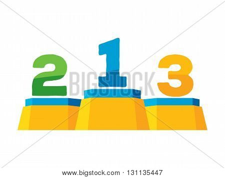 Podium stand colorful icon vector illustration. Sport competition symbol.