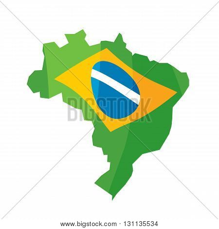 Brazil map abstract colorful background vector illustration. Good for advertising design. Decorative texture. Brazilian flag colors.
