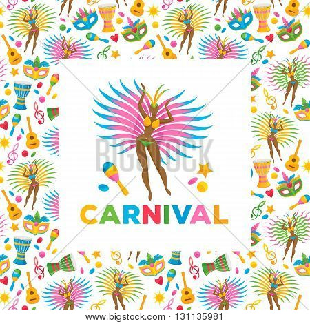 Brazilian carnival background colorful vector illustration. Brazil symbols icons pattern. Guitar drum samba dancer carnival mask confetti texture. Good for cover invitation flyer greeting card design.