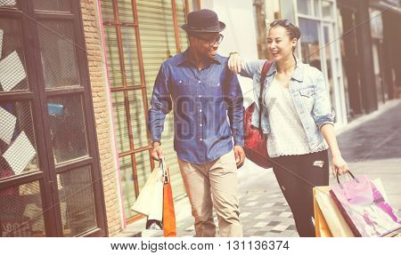 People Shopping Couple Relationship Diversity Concept