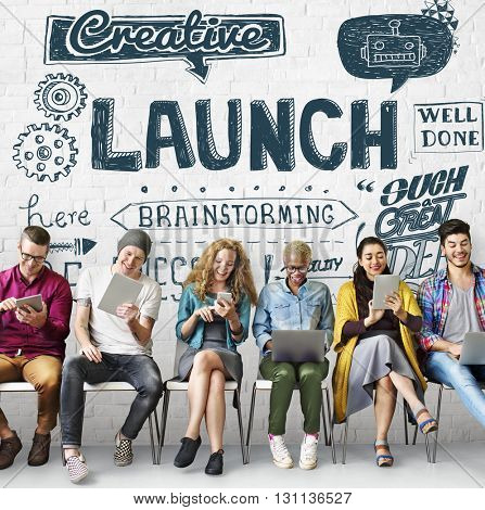 Launch Start up Creative Brainstorming Concept