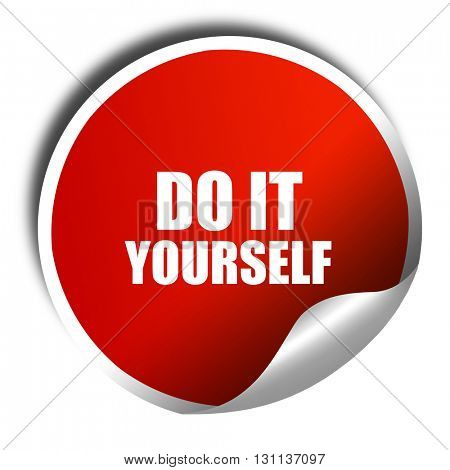 do it yourself, 3D rendering, red sticker with white text