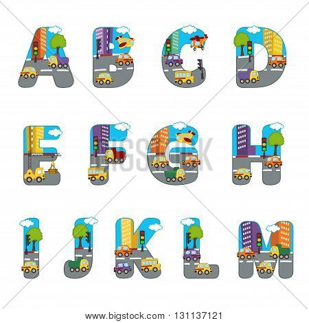 alphabet city from A to M - vector illustration, eps