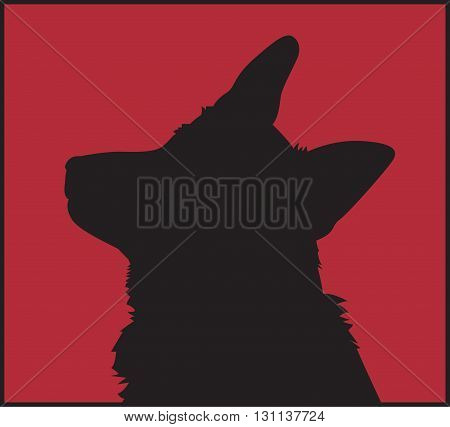 Black silhouette of the dog's head on a red background. Vector illustration