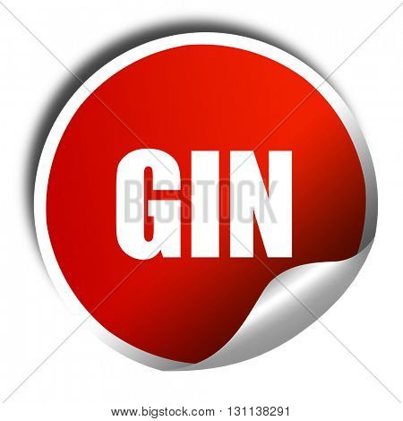 gin, 3D rendering, red sticker with white text