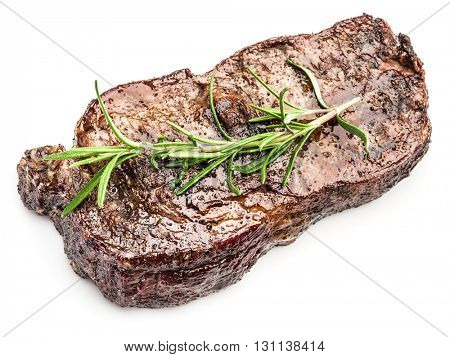 Steak Ribeye with spices on the white background.