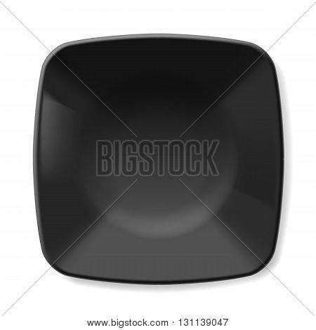 Illustration of empty black dish isolated on white background