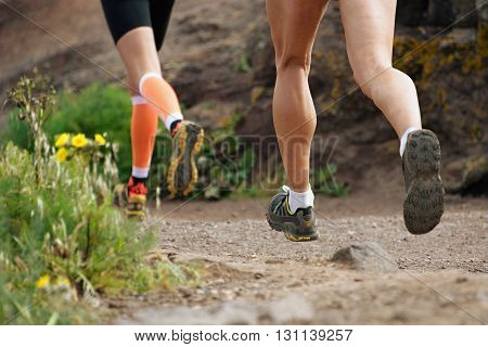 Trail running cross country runners in race