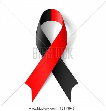 Red and black awareness ribbon as symbol of atheist solidarity