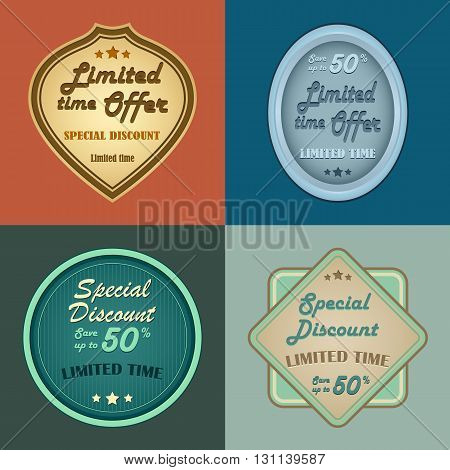 Set of retro vintage styled discount labels vector eps 10