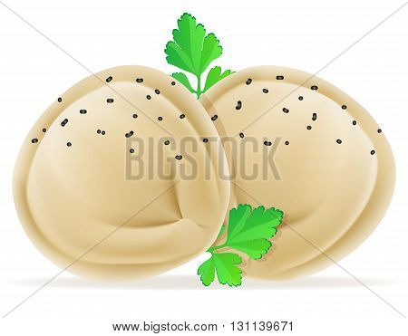 Dumplings Pelmeni Of Dough With A Filling And Greens Vector Illustration