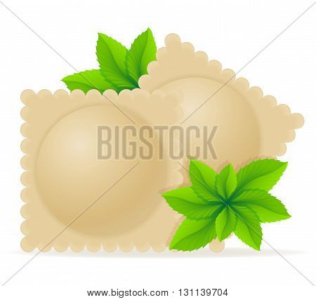 Dumplings Ravioli Of Dough With A Filling And Greens Vector Illustration