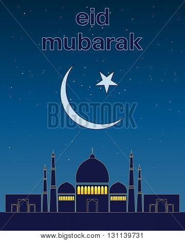 an illustration of a greeting card celebrating the muslim festival of eid with blue mosque islamic crescent moon and a starry night sky