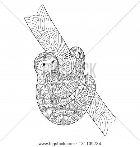 Sloth coloring book for adults vector illustration.