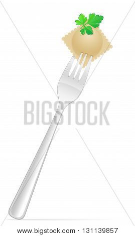 Dumplings Ravioli Of Dough With A Filling And Greens On Fork Vector Illustration