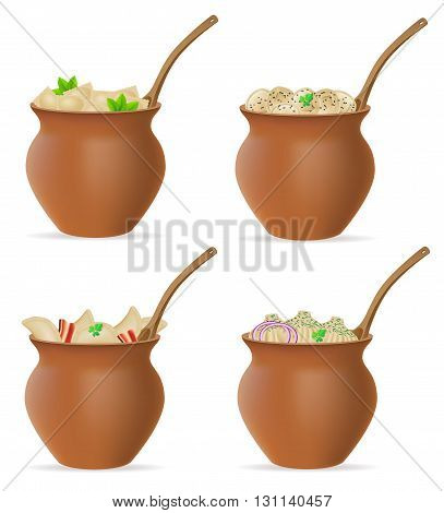 Dumplings Of Dough With A Filling And Greens In Clay Pot Set Icons Vector Illustration