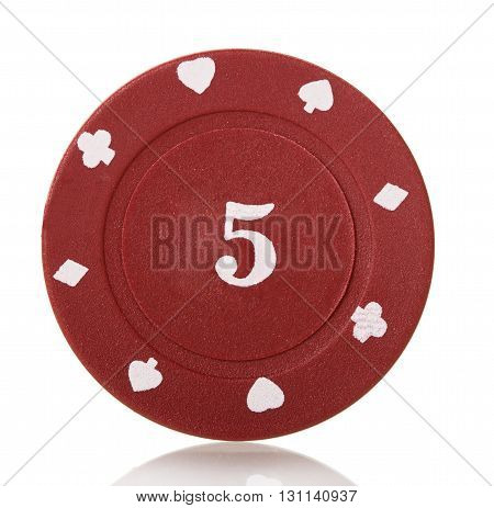 Red's poker chip close-up isolated on white background.