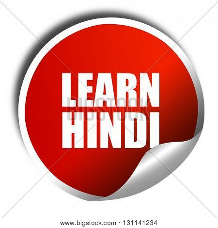 learn hindi, 3D rendering, red sticker with white text
