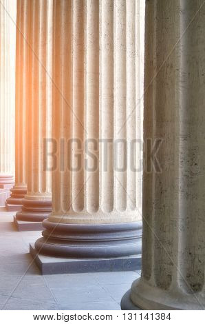 Colonnade of the Kazan Cathedral in Saint-Petersburg Russia. Soft focus processing