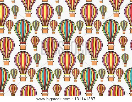 Colorful seamless hot air balloons vector pattern
