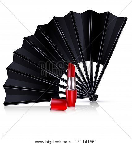 white background and the black fan with red lipstick