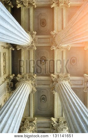 Colonnade and the decorated ceiling of the Kazan Cathedral in Saint-Petersburg Russia. Architectural landscape with soft filter