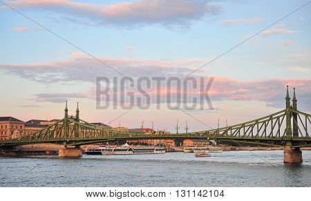 BUDAPEST HUNGARY - MAY 14: View of the Liberty bridge in centre of Budapest on May 14 2016. Budapest is a capital and largest city of Hungary.
