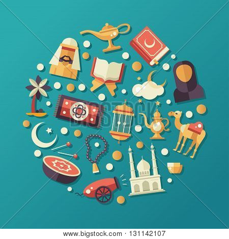 Modern vector flat design circle composition with icons of islamic holiday, culture. Muslim male, female, camel, cannon, mosque, prayer beads, lamp, drum