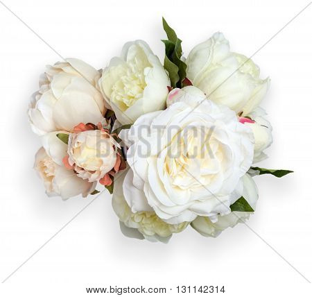 White Peonies With Clipping Path