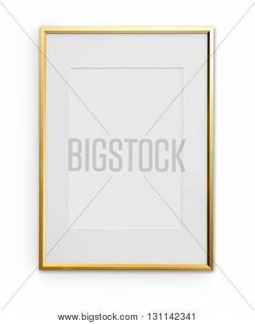 Thin Golden Frame With Clipping Path