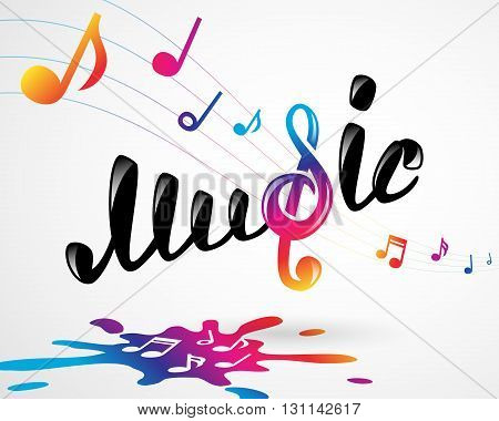 Colorful music logo on white, vector illustration for Your design, eps10