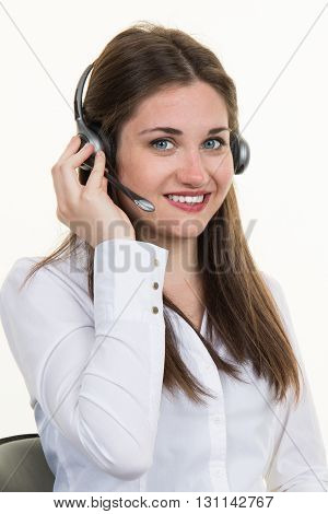 Support Phone Operator Woman Smiling In Headset, Isolated