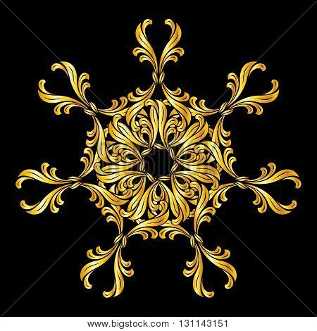 Abstract floral design element in golden shades on black background