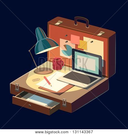 Mobile workplace. Concept vector illustration.