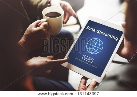 Data Streaming Online Internet Technology World Concept