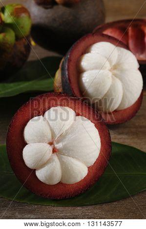 Fresh Mangosteen sweet fruit at on background