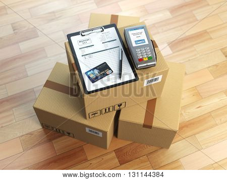 Cardboard box, clipboard with receiving form and pos terminal and credit card. Delivery concept. 3d illustration