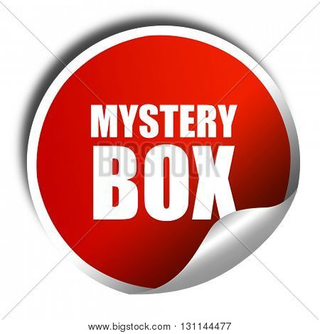 mystery box, 3D rendering, red sticker with white text