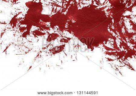 Red paint blotch on white as a background
