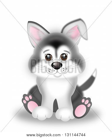 Illustration of cute sitting siberian husky puppy