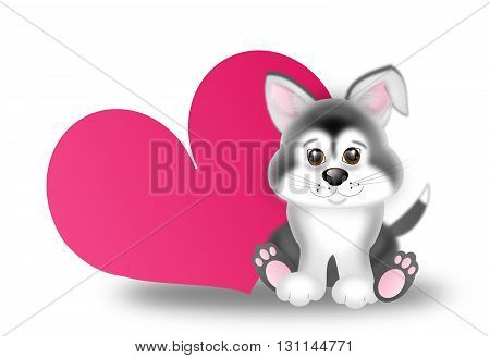 Illustration of cute sitting siberian husky puppy next big pink heart