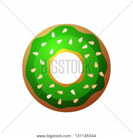 Vector Donut Icon. Sugar Donut Illustration. Caramel Donut Sign. Donut With Topping. Donut For Baker