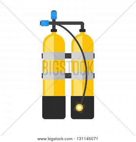 Scuba Vector Illustration. Diving Equipment Vector Sign. Aqualung For Swimming.