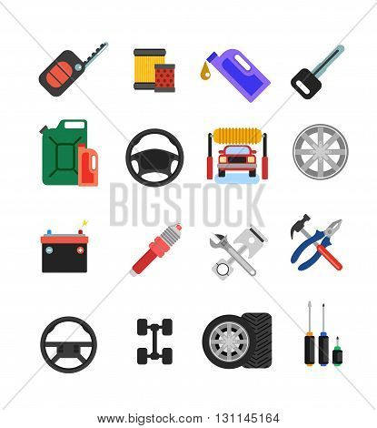 Car Parts Vector Set. Car Service Vector Icon Set. Car Parts Shop Banner. Car Service. Tire Service