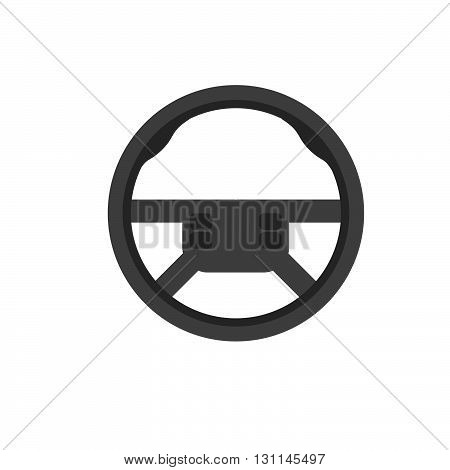 Car steering wheel vector icon. Car steering leather material. School of governance car vector logo. Car parts.