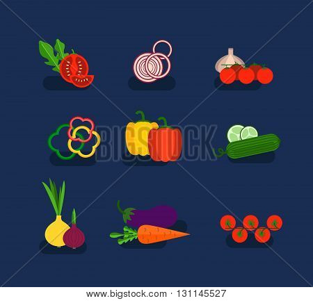 Salad Ingredients Vector Set. Salad Ingredients Vector Illustration. Vegetables For Salad. Vegetable