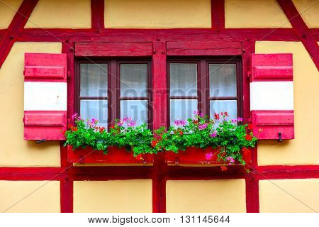 Windows of old house with flowers, Nurnberg, Germany