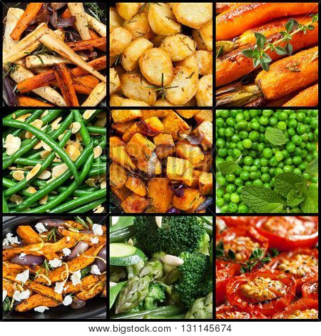 Collection of cooked vegetable dishes.  Includes parsnips, carrots, sweet potato, tomatoes, beans, broccoli, asparagus.