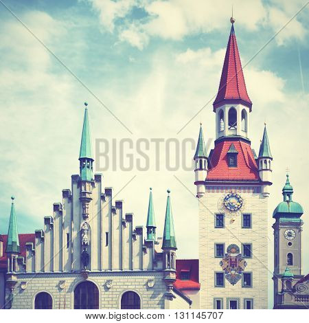Old Townhall at Marienplatz in Munich, Bavaria, Germany. Instagram style filtered image